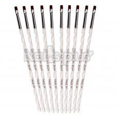 Кисть для геля №6  синтетика, аквариумная ручка YRE белая 10шт.