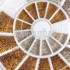 Бульонки , металлические золото + серебро, в карусельке 12 ячеек