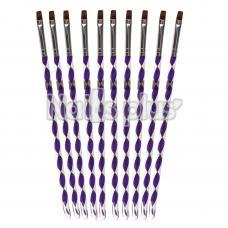 Кисть для геля №8 синтетика, аквариумная ручка YRE фиолетовая 10шт.