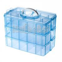 Пластиковый бокс - трансформер, 30 секций голубой