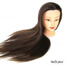 Голова учебная для причесок 30% натуральных волос,цвет чёрный