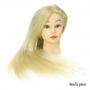 Голова учебная для причесок 30% натуральных волос,цвет белый