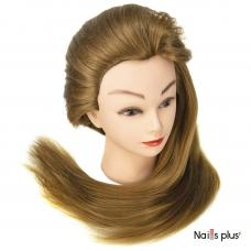 Голова учебная 30% натуральных волос, русая