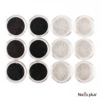 Бульонки для ногтей черные и белые (12 шт.)