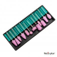 Набор насадок на фрезер розовых корундовых (12 шт.)