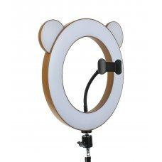 """Лампа кольцевая """"Коричневый мишка/панда"""" диаметр 27 см"""