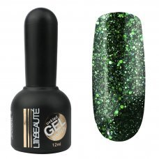 Гель-лак Lilly Beaute №102, 12 мл темно зеленый с блестками