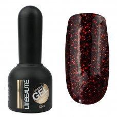 Гель-лак Lilly Beaute №139, 12 мл темное марсало с красными блестками