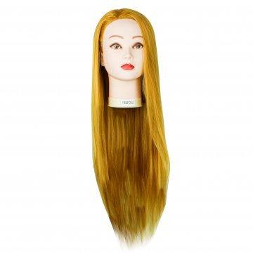 Голова учебная для причесок,30% натуральных волос,длина 65-60 см, цвет рыжий золото