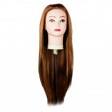 Голова учебная для причесок,30% натуральных волос,длина 65-70 см, цвет светлый каштан