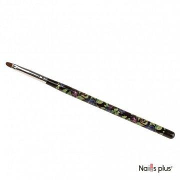Кисть для геля №4, овал, черная с цветочным принтом