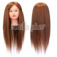 Голова учебная для причесок,70% натуральных волос,длина 65-70 см, цвет рыжий каштан