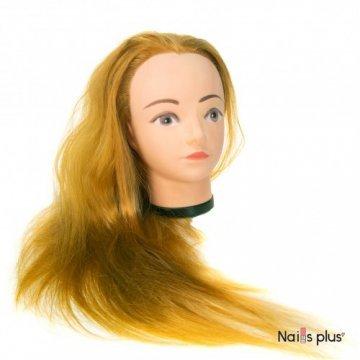 Голова учебная для причесок,искусственный волос 50-55 см,золотистый