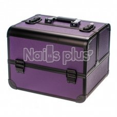 Профессиональный алюминиевый кейс для косметики фиолетовый с черным