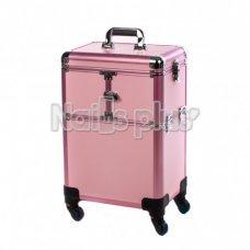 Чемодан профессиональный на колесах, розовый