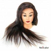 Голова учебная для причесок,30% натуральных волос,длина 65-70 см, цвет темно-коричневый