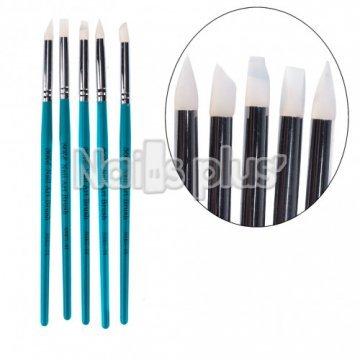 YRE набор силиконовых кистей бирюза ручка NSKG-04/B(5 шт.)