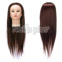 Голова учебная для причесок,30% натуральных волос,длина 65-70 см, цвет тёмный каштан
