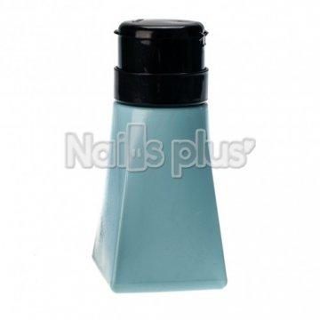 Бутылка с помпой YRE, голубая прямоугольная с черной крышкой 250 мл.