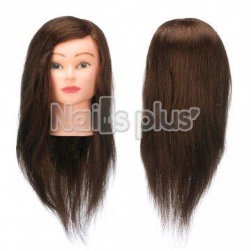Голова учебная для причесок,70% натуральных волос,длина 55-50 см, цвет брюнет