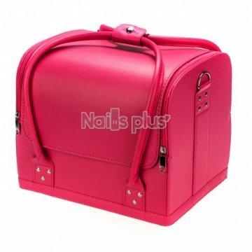 Бьюти кейс для косметики розовый кожа