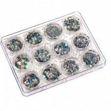 Набор МИКС цветных пайеток галографических различных форм, 12 штук