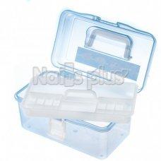 Бокс пластмассовый прозрачный съемный с мелкими ячейками голубой