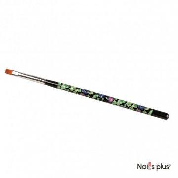 Кисть для геля №4, прямая, черная с цветочным принтом