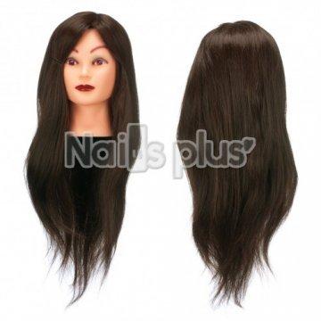 Голова учебная для причесок,70% натуральных волос,длина 65-70 см, цвет кофейный