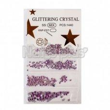 Глиттер кристаллы 1440 шт фиолетовые
