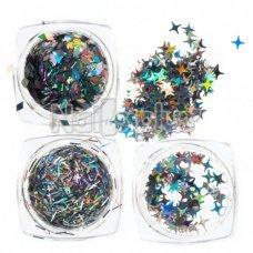 Набор цветных пайеток Звезды, 12 цветов