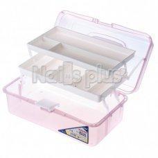 Бокс пластиковый с полочками, большой прозрачный нежно-розовый