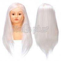 Голова учебная БЮСТ для причесок,70% натуральных волос,длина 65-60 см, цвет скандинавский блонд