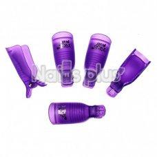 Набор зажимов прищепок YRE для снятия гель-лака, для пальцев, 5 шт. фиолетовый