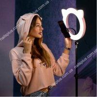 """Лампа кольцевая круглая с ушками """" розовая кошка"""" 27 см"""