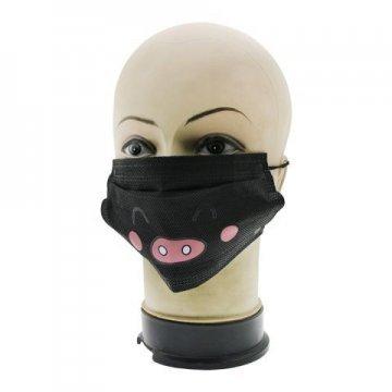 Медицинская маска для лица черная с принтом 5 шт.