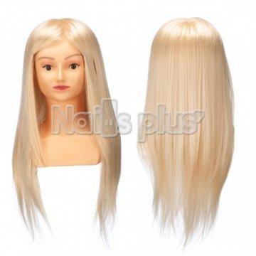 Голова учебная БЮСТ для причесок,70% натуральных волос,длина 65-60 см, цвет естесственный блонд