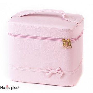 Набор косметичек 2 В 1 нежно-розовый с бантом