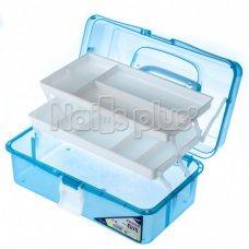 Бокс пластиковый с полочками, большой прозрачный голубой