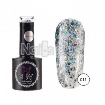Гель-лак SaMi Laser Shine, Цветное серебро, 8 мл, Laser-011