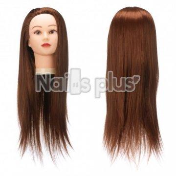 Голова учебная для причесок,50% натуральных волос,длина 65-70 см, цвет вишневый каштан