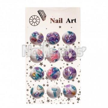 Набор декора для ногтей МИКС большие формы голубых и сереневых оттенков + камни диамант 12 шт.