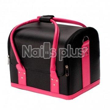 Бьюти Кейс для косметики, черный с розовыми ручками