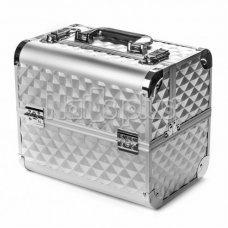 Алюминиевый кейс для косметики silver ромб