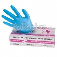 Перчатки одноразовые виниловые голубые (100)