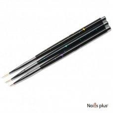 Набор тонких кистей для росписи с черными ручками (3 шт.)